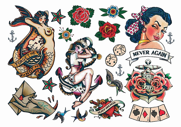Temporary tattoos rockabilly tattoos try before you commit for Tatuaggi stile pin up