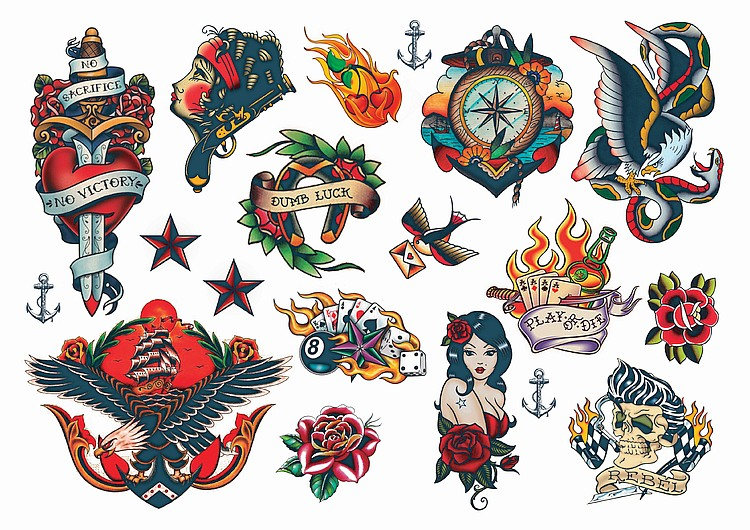 Temporary tattoos vintage style rockabilly temporary tattoos - Mobeltattoo vintage ...