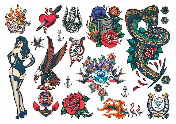 Temporary Tattoos Vintage Style Rockabilly Temporary Tattoos