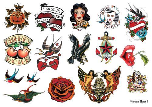 cd17020ae09c5 Temporary Tattoos Logos Printed Today: Vintage Temporary Tattoos