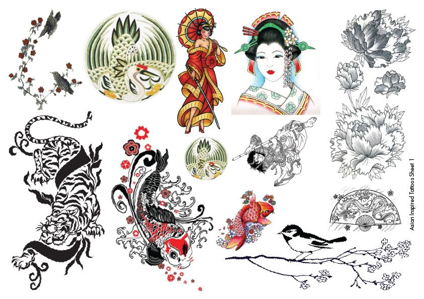 Temporary Tattoos Asian Inspired