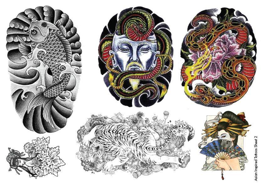 Temporary tattoos asian inspired oriental body art for Japanese tattoo flash